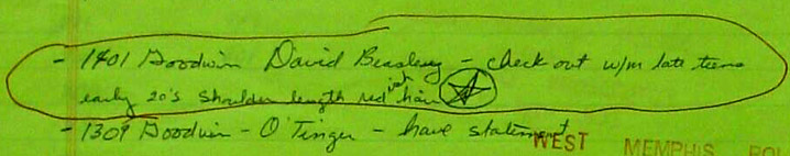 King David Beasley, door to door note, Lt. Hester