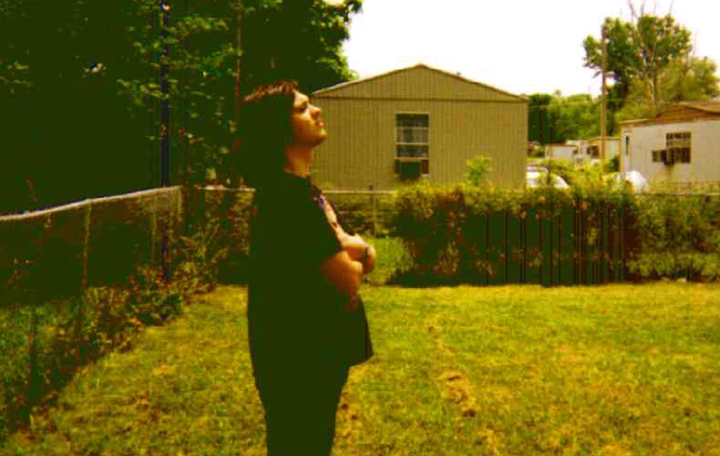Damien Echols in his backyard